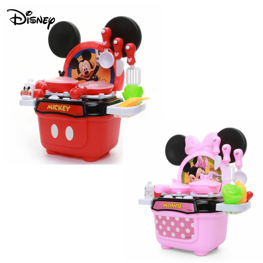 Original Disney Kitchen Toys Genuine Mickey Minnie LED Cooktop Educational Kitchenware Model Birthday Pretend Children Gifts