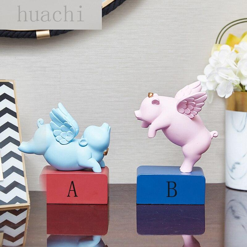 Nordique moderne couple porcelet ornements abstrait animal sculpture ange statue animal de compagnie cochon figurine cadeau de mariage décorations pour la maison