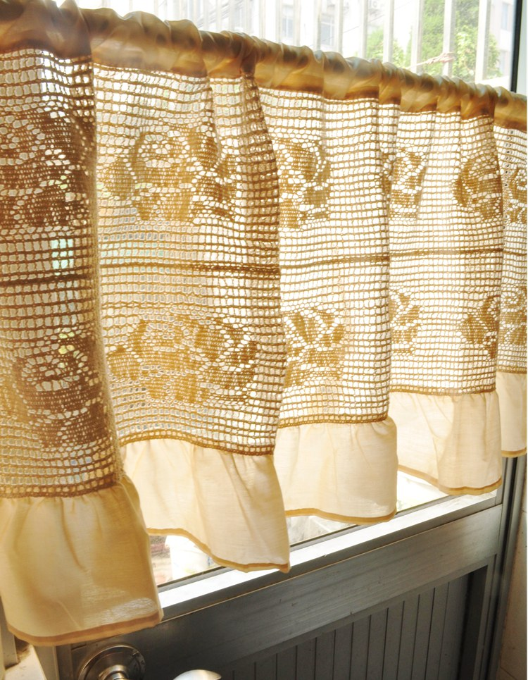 Large Rose Beige Ruffled Cafe Curtain Semi Shade Kitchen Curtain Finished  Crochet Curtain For Kitchen