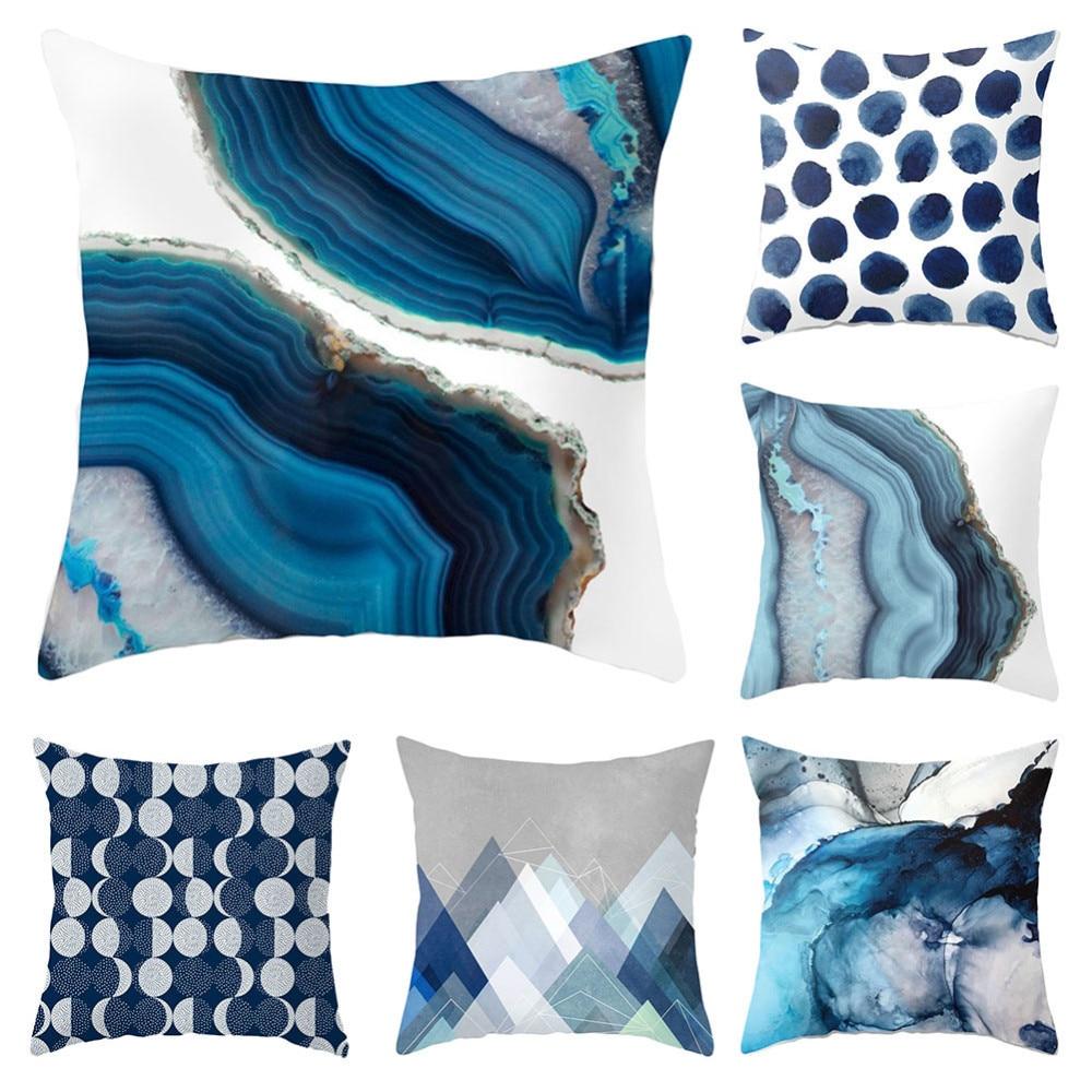Creative Blue Beach/Forest Abstract Design Cushion Covers 45x45cm Home/Office Sofa Waist Pillow Covers Polyester Pillowcase B4