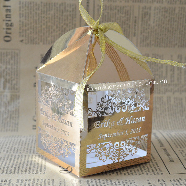 Gold Pillow Favor Boxes : Personalised laser candy box gold wedding favor