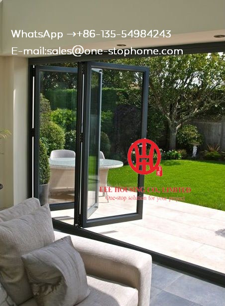 Aluminum Folding Door Patio Doors For Villa Use,Exterior Room Dividers Soundproof Insulated Glass Aluminium Bi-Folding Doors