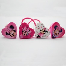 Fashion accessories 4 pcs/lot heart shape elastic hair bands cute micky pony tail holders scrunchies for girls wholesale