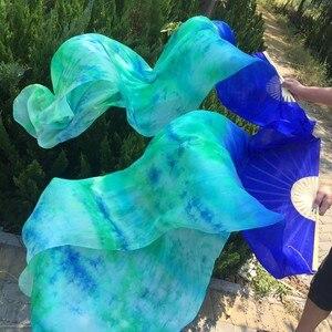 Image 3 - Großhandel gefärbt 100% reine natürliche seide fan schleier für bauchtanz sexy 180cm lange seide fan für tänzer zeigen auf der bühne EIN paar