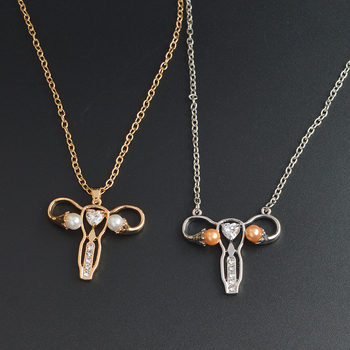 Gold Silver Uterus Womb Pendant Necklaces Jewelry MD Doctor Nurse Medicine Necklace Graduation Gift for Medical Students
