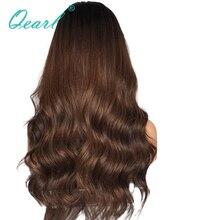 Парики без клея для черных женщин, волнистые парики из кружева, Омбре, коричневый цвет, бразильские волосы Remy, глубокая средняя часть, предварительно выщипанные Qearl