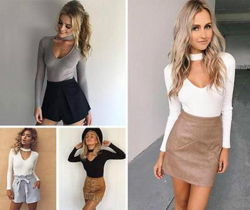 Sexy Fashion V- Neck Long Sleeve Knit Blouses  Knitwear  Shirts Women Blouse Top M Grey