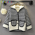 2-6Years/Autumn Winter Children's Jackets Casual Fashion Plaid Hooded Baby Girls Wool Coats Warm Thicker Infant Outerwear BC1323