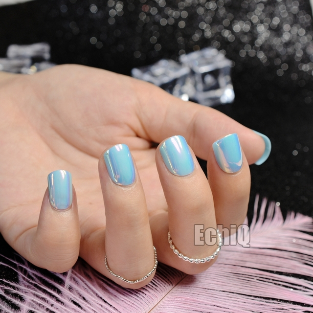 Fashion Sky Blue Press On Nails Holographic Short Full Cover Acrylic ...