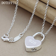 Wholsale Luxury Brand 100% Brand New 925 Sterling Silver Square/Heart Lock Necklace With Original Logo For Women Christmas Gift jooz brand women 100