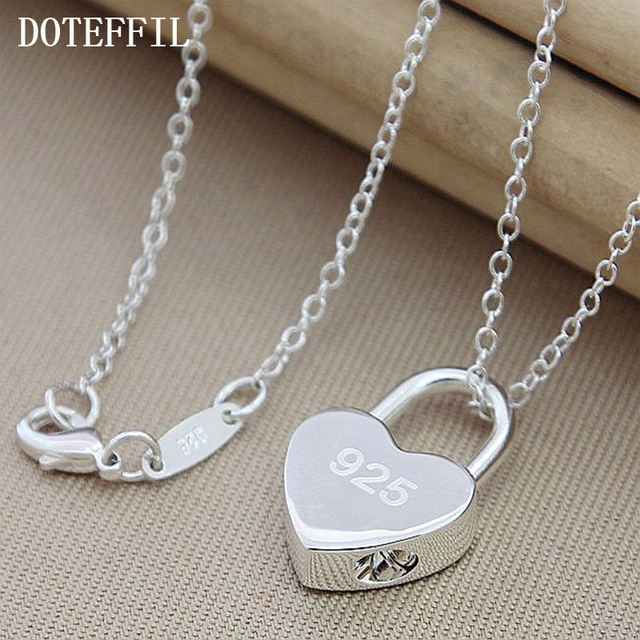 Wholsale Luxury Brand 100% Brand New 925 Sterling Silver Square/Heart Lock Necklace With Original Logo For Women Christmas Gift