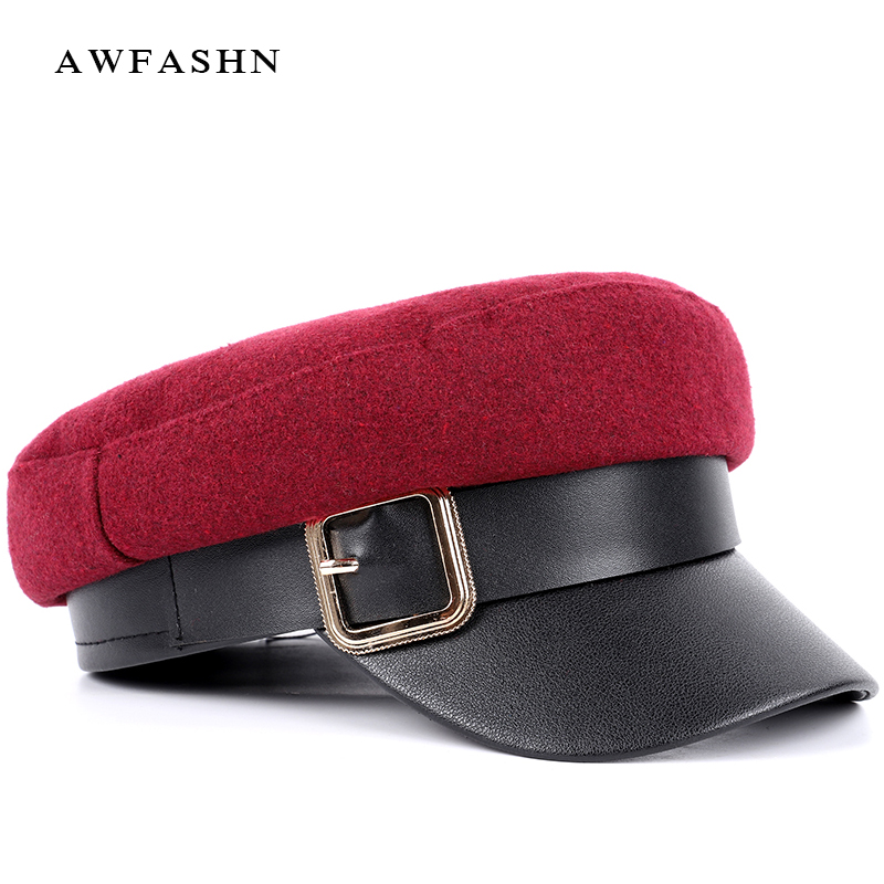 2018 Hohe Qualität Wolle Casual Militär Hüte Frau Flache Top Hut Baskenmütze Mode Faux Leder Visier Damen Vintage Baumwolle Unisex