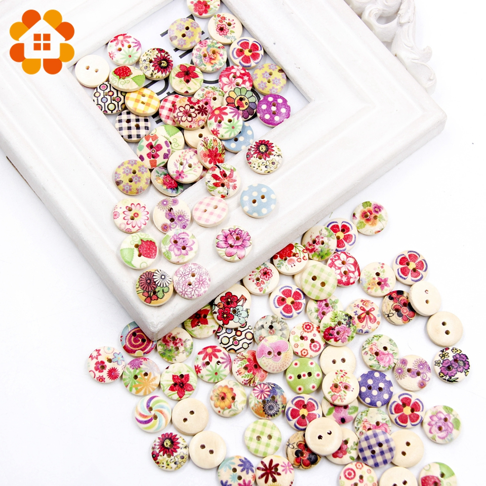 50pc Colorful 15mm 2Hole Wooden Buttons For Scrapbooking Crafts DIY Baby Children Clothing Sewing Accessories Button Decoration in Buttons from Home Garden