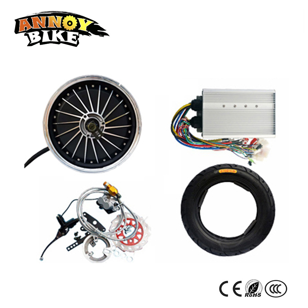 <font><b>60v</b></font> 72v 84v <font><b>1500W</b></font> Hub <font><b>Motor</b></font> Wheel With Disc Brake Kit Electric Vehicle DIY Wheel <font><b>1500w</b></font> High Speed Electric Car Kit image
