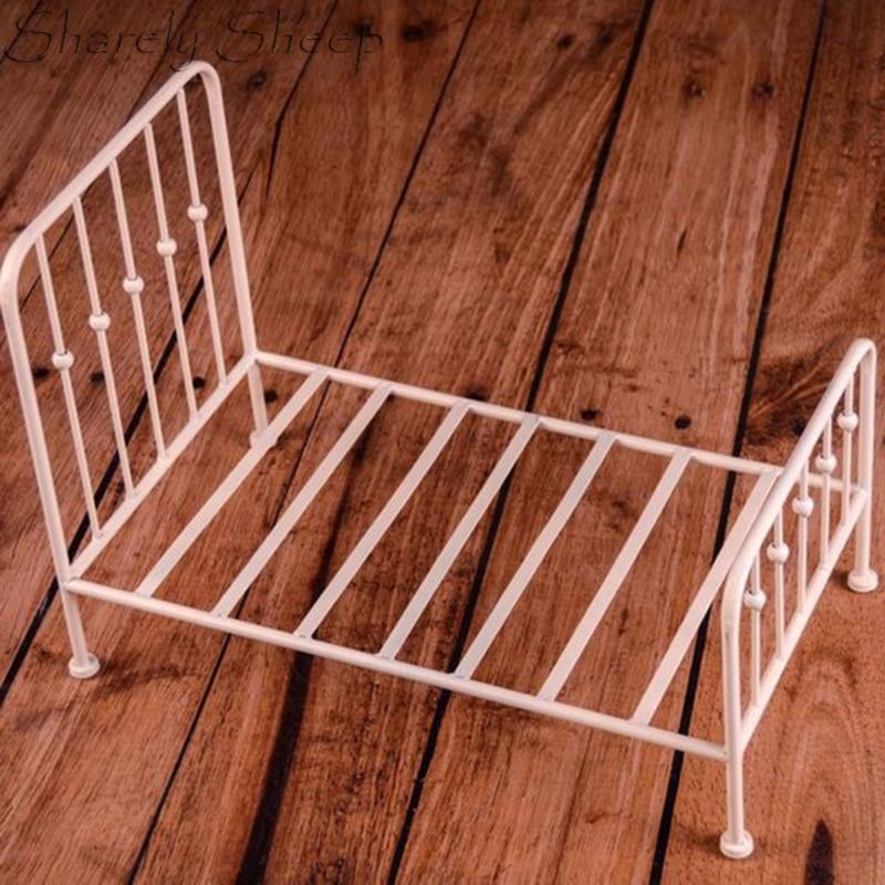 Nouveau-né photographie Prop Vintage fer blanc lit bébé garçon Photo Shoot Studio posant Vintage rustique berceau bûche lit infantile Photo Prop