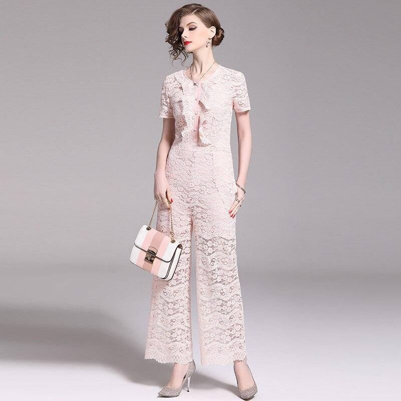 Combinaison rose dentelle femmes une-pièce jambe large à manches courtes section mince pantalon droit 2019 été sexy sans bretelles femmes combinaison