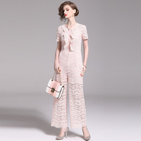 Pink Jumpsuit lace women One piece Wide leg short sleeve thin section straight pants 2019 summer sexy strapless women's jumpsuit