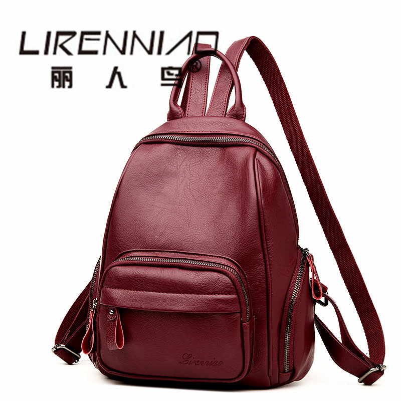 LIRENNIAO sac a dos homme Backpack Women Schoolbag school backpack For teenage Girl mochila mujer Softback Travel Woman Bagpack women backpack soft leather large capacity casual travel backpack school bags for girls student bookbag mochila mujer sac a dos
