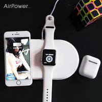 Multi-Function Air power For iWatch Serise 2 3 4 Smart Wireless charger For iPhone X 8 8 Plus For airpods 3 in 1Together charger