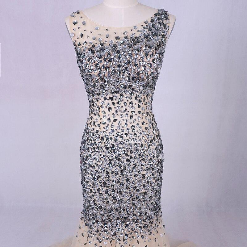 Lyxig kvällsklänning 2019 LORIE Silvergrå kristaller Beading Tulle - Särskilda tillfällen klänningar - Foto 2