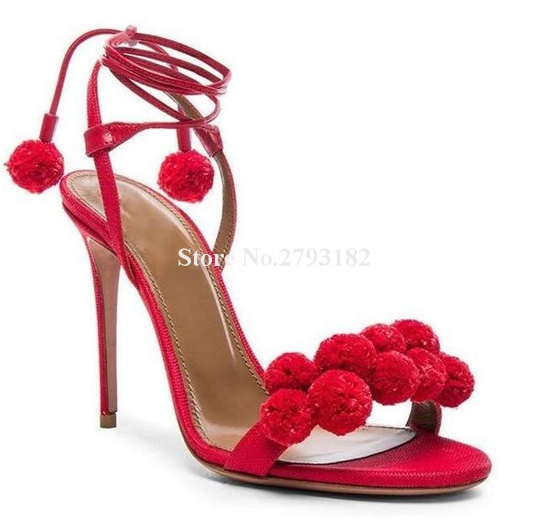 Chaussures Talon Aiguille Robe Femmes As up Dentelle Puffer Ouvert Mince Rouge Haute Nouveau Design Picture Blanc as Bout Picture Boule Mode Sandales Argent vTwxzUq