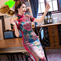 Women's Satin Cheongsam Long Print Qipao Velvet Silk Wedding Dress China Oriental Dresses Traditional Elegant Retro Cheongsams