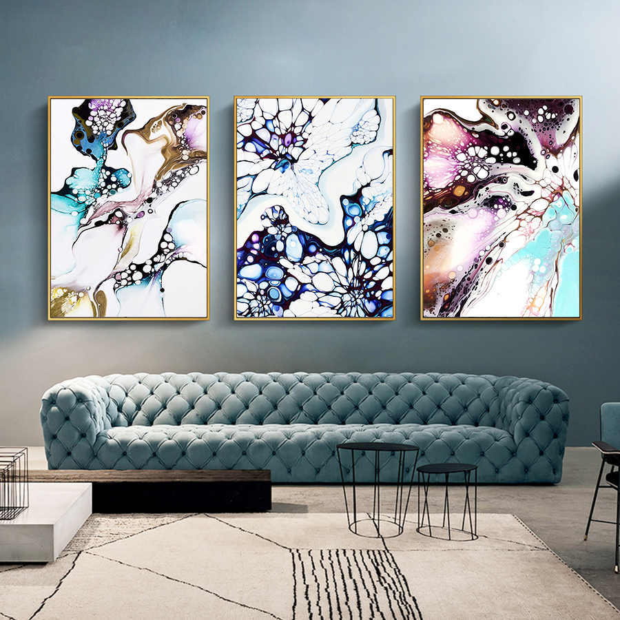Nordic Art Style Wall Pictures Abstract Colorful Mottled Marble Texture Wall Prints Canvas Painting for Living Room Decor Poster