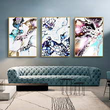 Nordic Art Style Wall Pictures Abstract Colorful Mottled Marble Texture Wall Prints Canvas Painting for Living Room Decor Poster(China)