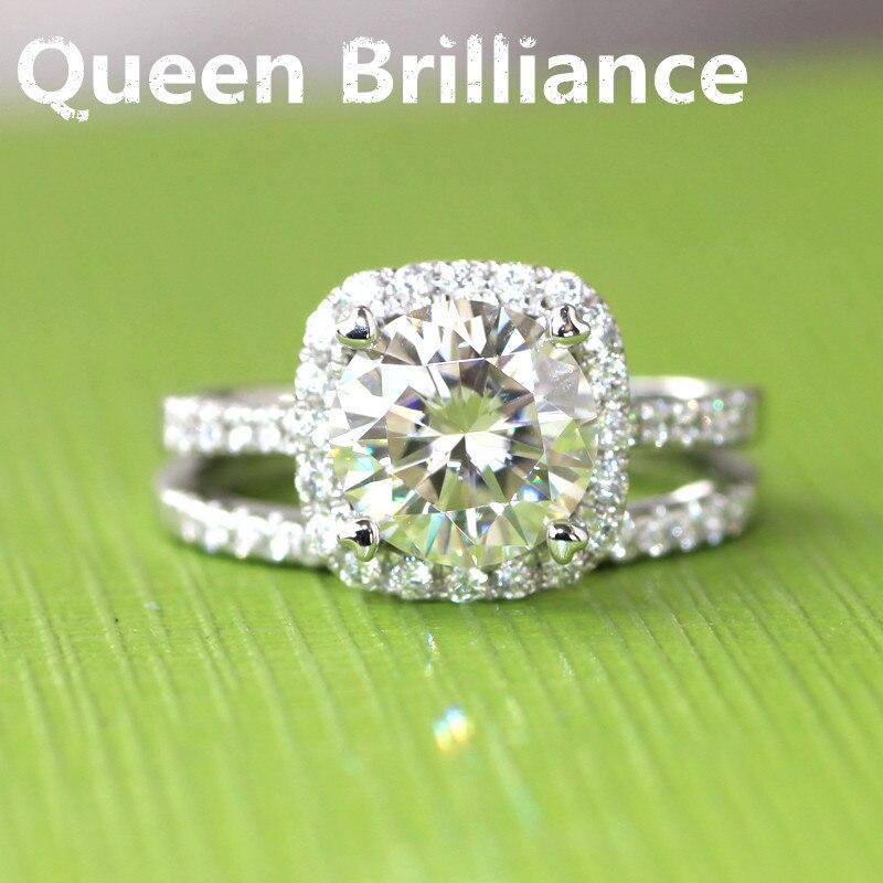 Absolutamente Lindo 14 K 585 ct Ouro Branco 1.5 Carat GH Cor Brilliant Lab Grown Moissanite Diamond Ring Wedding Engagement conjunto