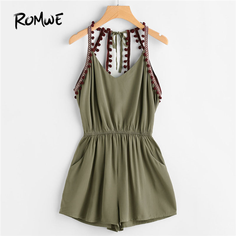 ROMWE Embroidered Taped Pompom Trim Open Back Romper 2018 New Summer Mid Waist Knot Pocket Female Top Sleeveless Straps Romper