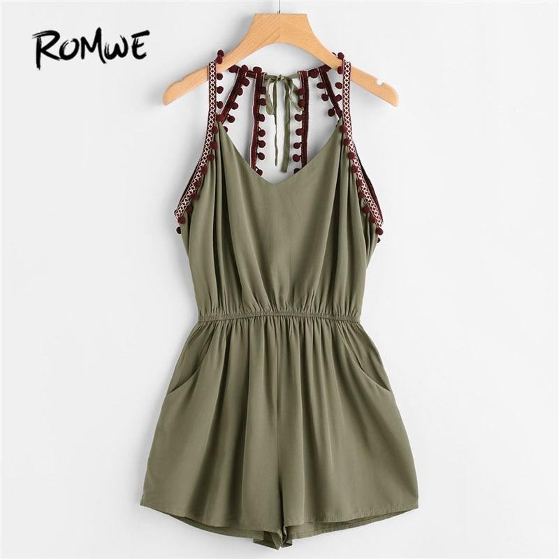 ROMWE Embroidered Taped Pompom Trim Open Back Romper 2018 New Summer Mid Waist Knot Pocket Female Top Sleeveless Straps Romper