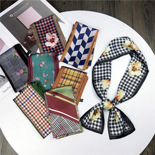 LEAYH Fashion 98*9cm Flower Print Silk Long Scarf Women Female Period Wrist Band Tie Bag Handle Ribbon Head Scarves & Wraps