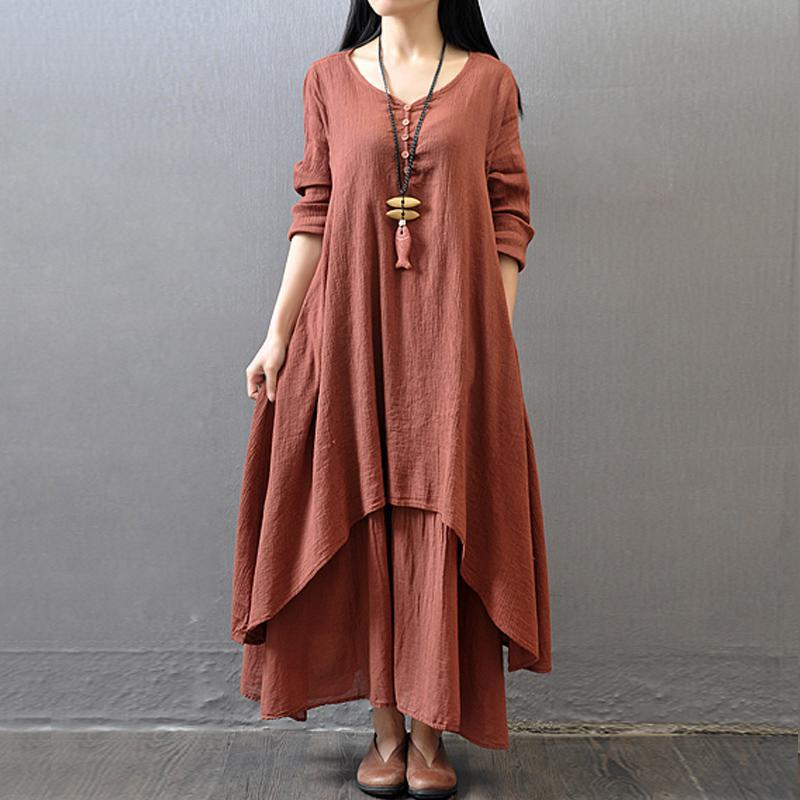 2018 Spring Autumn New Dress Women Elegant Loose Full Sleeve V Neck Dress  Cotton Linen Boho Long Maxi Dress Vestidos Plus Size d4323a5e8b42