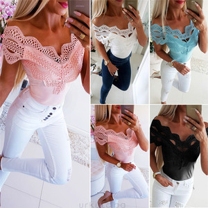 New Women Off Shoulder Lace up Fashion Blouse Strapless Hollow Out Female Bandage Casual Blouse Women's Clothing