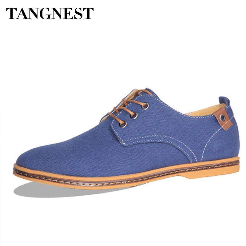 95ae894aa Tangnest الرجال حذاء كاجوال 2017 الخريف الرجعية الذكور قماش الشقق 5 ألوان  أزياء الرجال حذاء رسمي كبير حجم 38-48 XMF316
