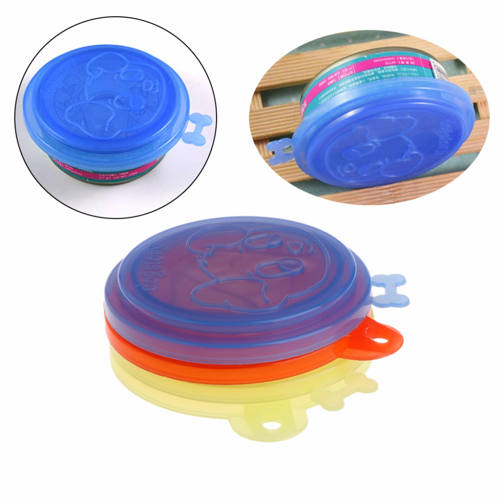 1pc Pet Dog Cat Food Can Cover Silicone Storage Cap Top For Dogs Cats Reusable Color Random Fresh Lid Good Quality C42