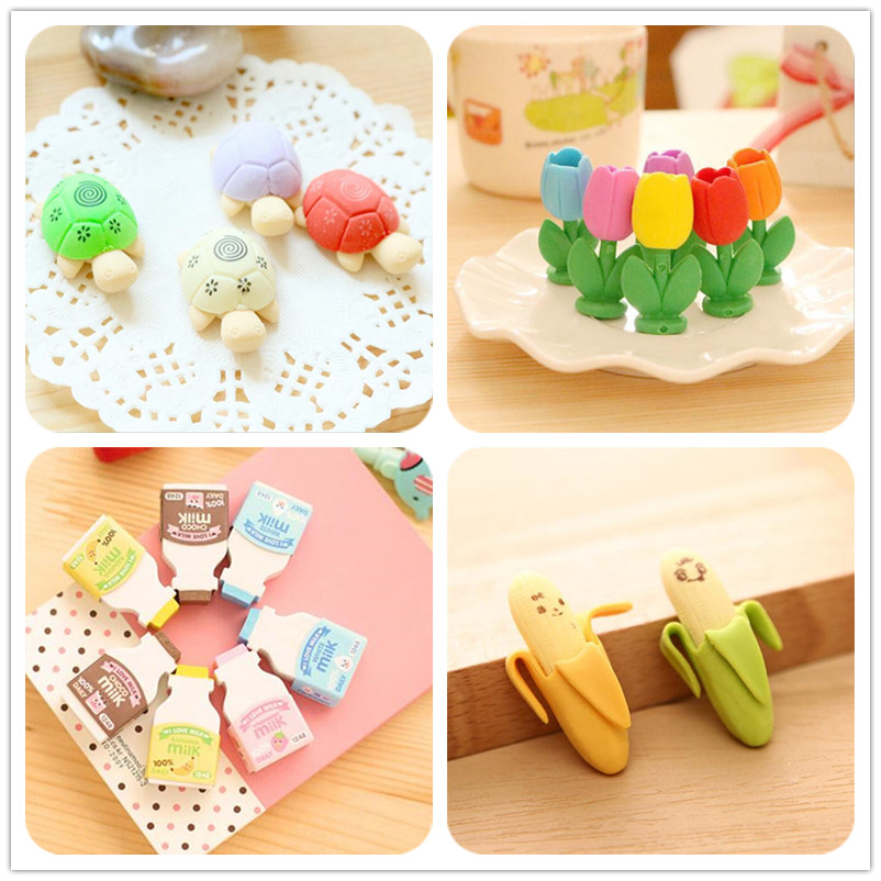 2pcs/lot Kawaii Cartoon Turtle Flower Milk Bottle Banana Eraser Student Gift School Rewards Toys Office Stationery Eraser Supply