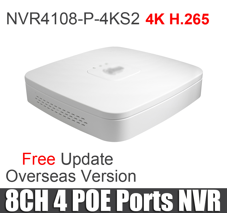 Dahua 8ch poe nvr NVR4108 P 4KS2 Smart 1U Mini NVR 1080P NVR 8ch with 4