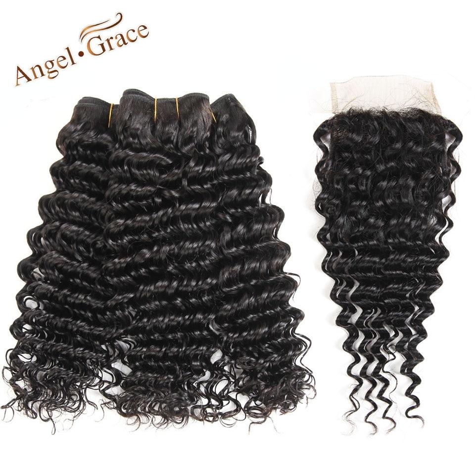 Malaysian Deep Wave 3 Bundles With Closure Angel Grace 100 Human Hair Bundles With Closure Natural