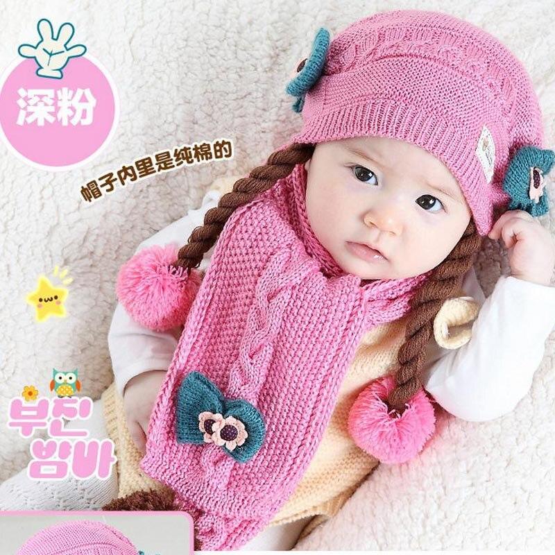 Doitbest корейский Поддельные косы детские вязаные шапки зима два цветка 2 шт детский шарф для девочки шляпа Набор Возраст 6 месяцев-2 лет - Цвет: pink