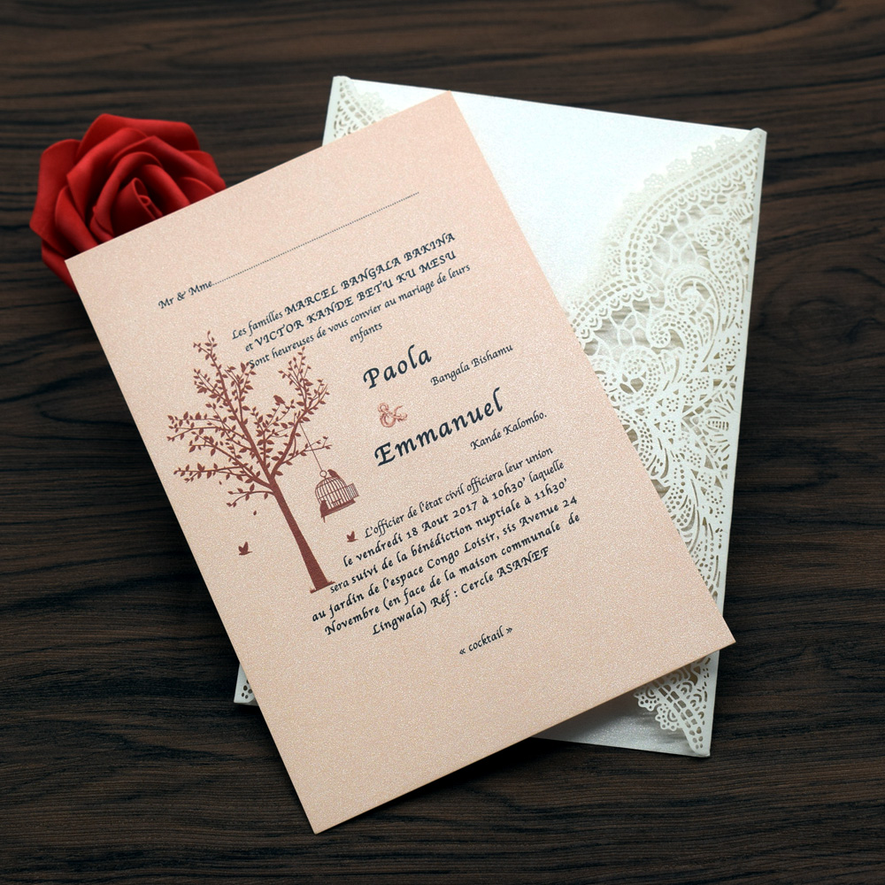50pc wedding invitations card laser cut invitation card cover lace ...