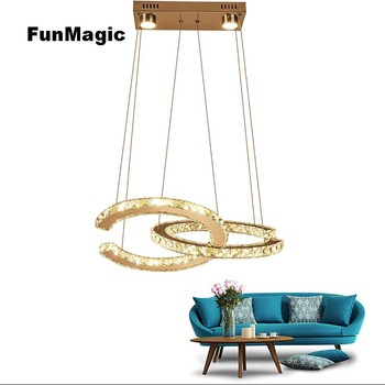 Modern LED Crystal Chandelier 2 C Pendant Ceiling Fixture Living Dining Room Lamp Dimming Lighting Stainless Steel