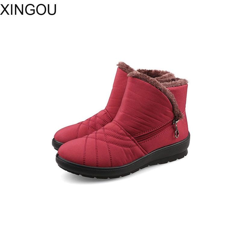 QIN&X Femme Talon Plat Augmentation Interne Moyen Chaud. Chaussures, Rouge, 34