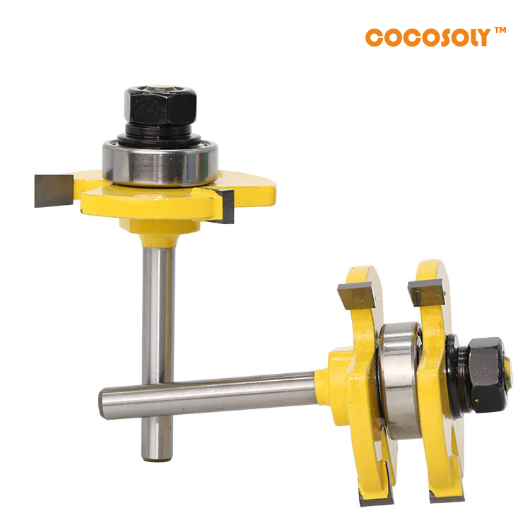 Cocosoly 2pcs/set Tongue & Groove Router Bit Set 1/4 Shank 3 Teeth T-shape Wood Milling Cutter Flooring Wood Working Tool 2pcs hot sale tenon cutter floor wood drill bits groove and tongue router bit 1 4 t type shank 3 teeth milling cutter for wood