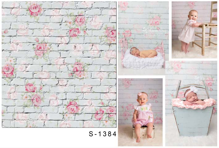 5X7ft White Brick Wall Wallpaper Children Baby Photography Backdrops Vinyl Backgrounds for Photo Studio Photo Background S-1384