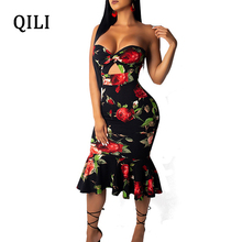QILI Sexy Strapless Party Dress For Women Floral Printed Ruffles Hollow Out High Waits Dresses Backless Bodycon Female