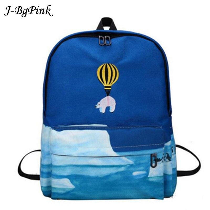 2017 Latest Design Fire Balloon Animal Embroidery Backpack 3d Harajuku Backpack Teenage Girl Backpack School Bag