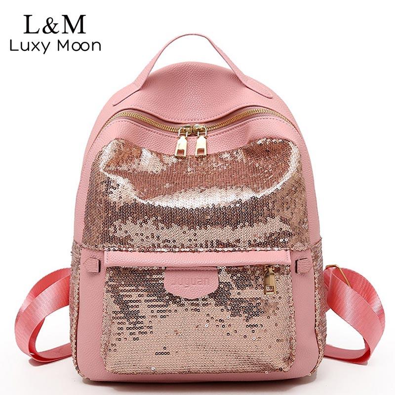Luxy moon Glitter Backpack Women Sequins Backpacks Teenage Girls Rucksack  Fashion Female Black School Sequin Bag mochila XA387H