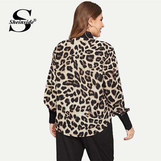 Sheinside Plus Size Leopard Print Tie Neck Blouse Women Casual Bishop Sleeve Blouses Elegant Workwear Button Tighten Cuff Tops 1