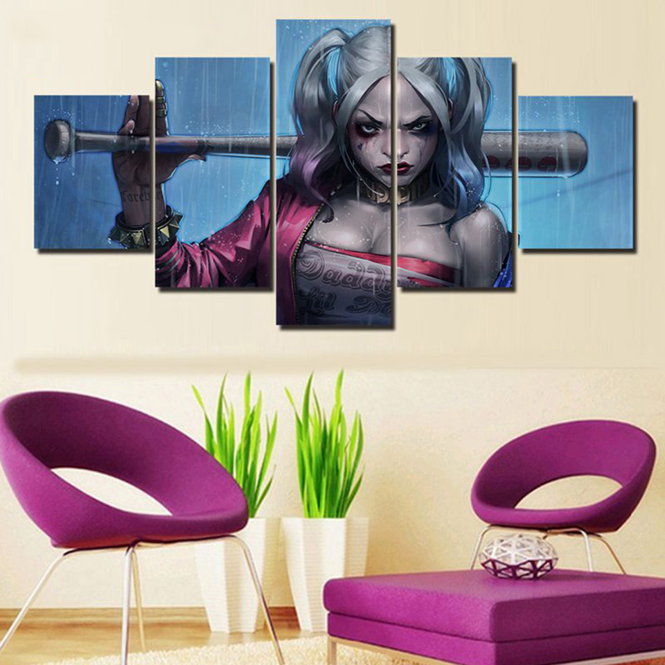 Art Oil Painting Print On Canvas Home Decor Harley Quinn Framed